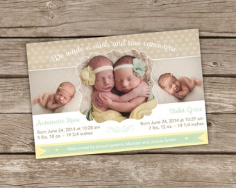 Printable Twins Birth Announcement - We Made a Wish and Two Came True  - Yellow & Green
