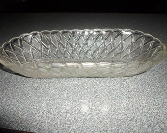 Vintage Indiana Clear Glass Pretzel Pattern Celery Tray