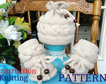Knitting P A T T E R N Baby Set Knitted Baby Hat Baby Shoes Knitted Baby Beanie Pattern Baby Booties Baby Boy Baby Girl Pattern ( PDF file )