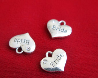 "BULK! 15pc ""bride heart"" charms in antique silver style (BC135B)"