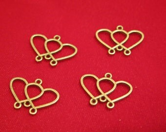 "10pc ""hearts"" connector charms in antique bronze style(BC198)"