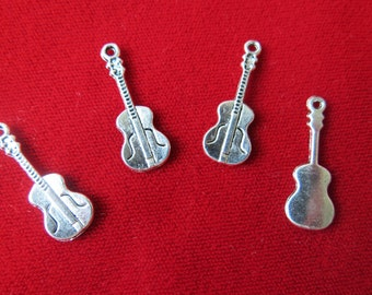 "10pc ""violin"" charms in antique silver style (BC331)"