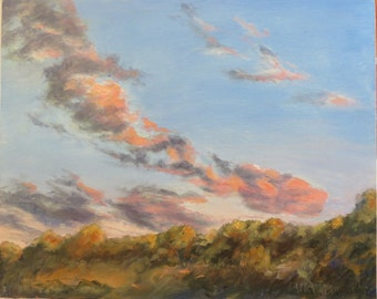 Flying Dinosaur Clouds Sunset Original Oil Painting Maine
