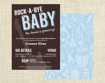 Printable Rock a Bye Baby Shower | Rock and Roll Baby Shower Invitation