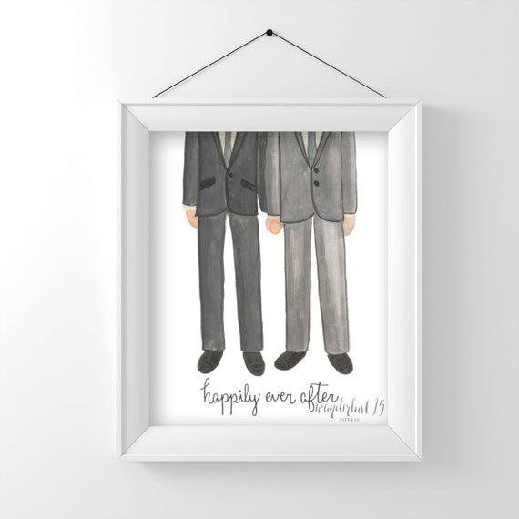 SALE! Happily Ever After, Gay Wedding Couple, Male, Love, art print, illustration, typography