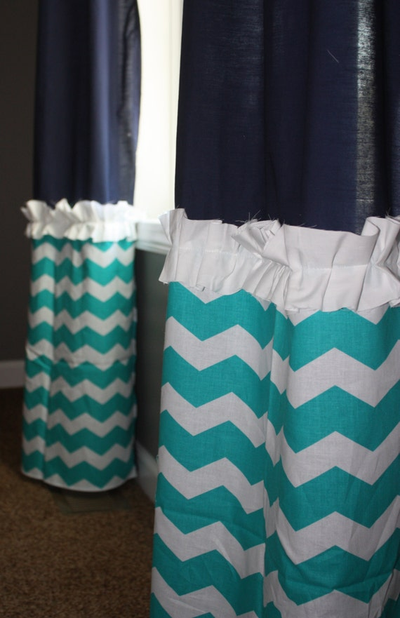 items similar to navy window curtains with teal white