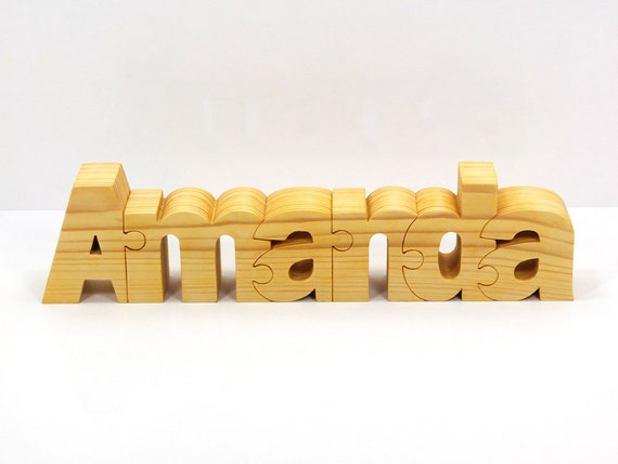 Personalized Wooden Name Puzzle. Wooden gift for kids.