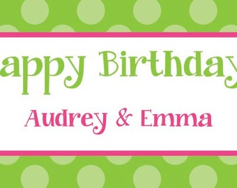 Green Polka Dot with Pink Happy Birthday Gift Tags/Calling Cards