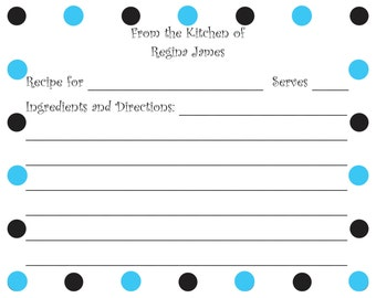 Personalized Blue and Black Dot Recipe Card