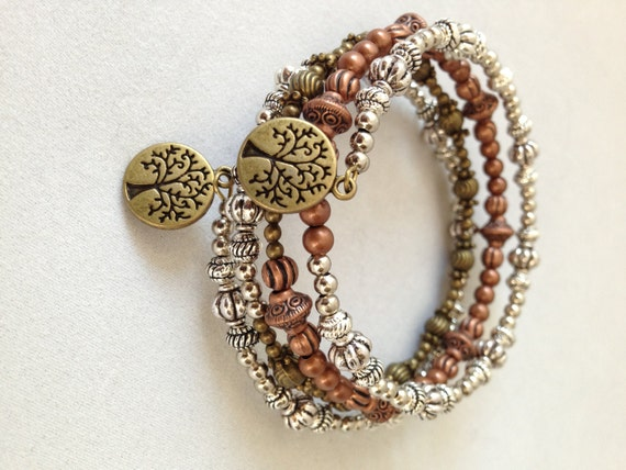Items similar to Mixed metals memory wire bracelet with ...