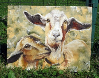 Goats Farm Animal Art - 'Molly & Dolly' Original Oil Painting