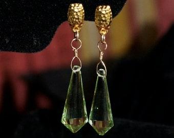 Ref: 106  Green amethyst quartz briolette GF earrings.