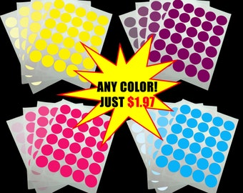 """1.5 Inch Round Stickers, 1.5"""" In Circle Sticker, Customized Any Color Round Stickers, Personalized All Colors, 30 per Label Sheet 1 1/2 1/2"""""""