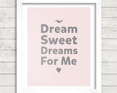 8x10 INSTANT DOWNLOAD - Dream Sweet Dreams For Me - Good Night - The Beatles Lyrics - Art Print - Home & Nursery Decor - Typography