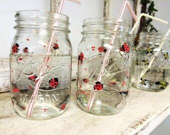 Set of 4 Ladybug or Bumble Bee Mason Jar Drinking Glasses