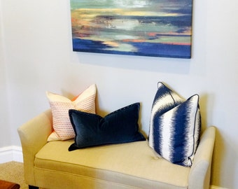 BOTH SIDES - ONE Zia Birch Navy Pillow Cover