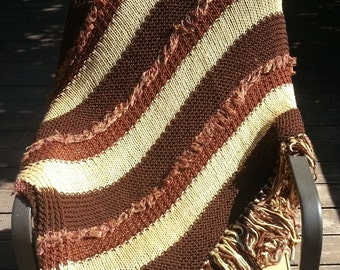 Afghan Throw Blanket Knit afghan throw Cinnamon Chocolate Brown Tawny Yellow Gold Soft (0913A) home decor gift
