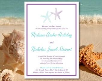 "Beach Wedding Invitation Template - Starfish Invitation Download - Violet Aqua Wedding Invitation Template ""Lazy Starfish"" DIY Wedding"