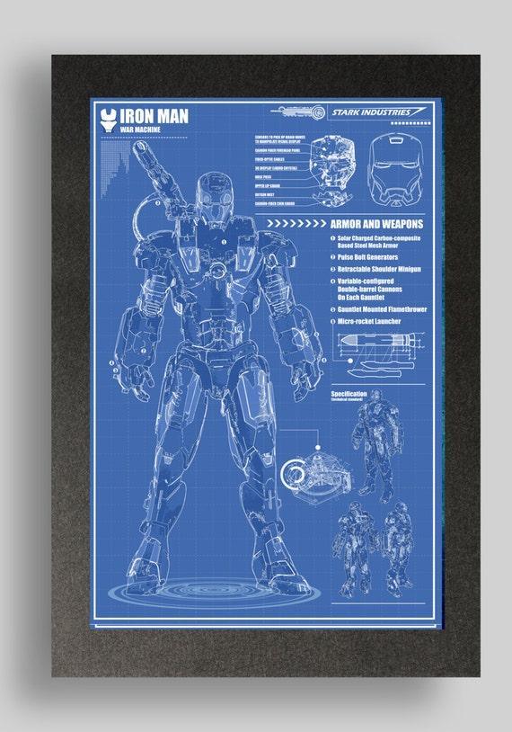 Iron Man War Machine Suit Blueprints 16x24 By Ryanhuddle