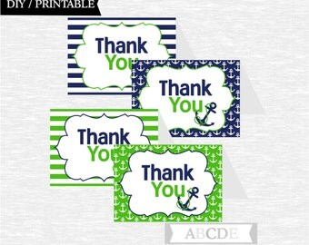Instant Download Navy and Green Nautical Party Tented Thank You cards Nautical Birthday party Baby shower DIY Printable (PDN013)