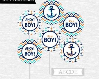 Instant Download Chevron Orange, Aqua, Navy Cupcake Toppers Ahoy Its a boy Nautical Baby Shower DIY Printable (PDN028)