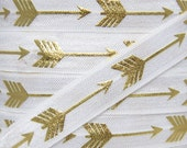 White and Gold Metallic Arrow Print Fold Over Elastic - Elastic for Baby Headbands and Hair Ties - 5 Yards 5/8 inch Printed FOE