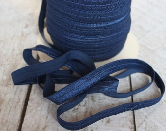 Navy Fold Over Elastic - Elastic For Baby Headbands and Hair Ties - 10 Yards of 3/8 inch FOE