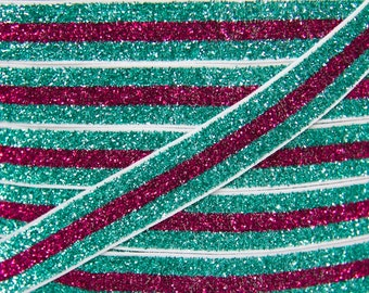 Turquoise & Hot Pink Stripe 5/8 inch Glitter Elastic - Elastic For Baby Headbands and Hair Ties - 5 Yards of 5/8 inch Glitter FOE