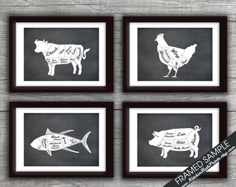 Beef, Chicken, Tuna Fish and Pork (Butcher Diagram Series B) - Set of 4 - Art Prints (Featured Vintage Chalkboard) Kitchen Prints