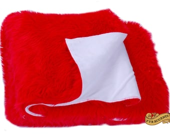 FUR ACCANTS Faux Fur Faux Fur Throw Blanket / Reversible / Red and White / Angels / Cardinals / Sox