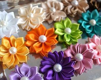 """YOU PICK COLORS - Mini Satin Flowers  - 1.5"""" Satin Ribbon Layered Flowers Wholesale Lot - Satin Ribbon Flowers - Fabric Flowers Wholesale"""