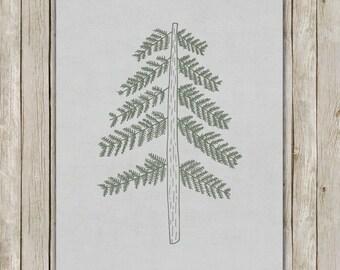 8x10 Tree Art, Tree Art Poster, Gray Wall Printable, Holiday Print, Wall Art, Holiday Decor, Instant Download, Digital Art Print