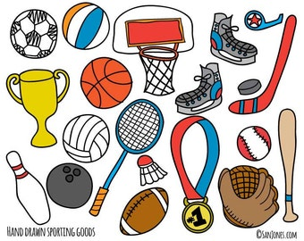 Sports Clip Art - Hand Drawn Clip Art - Sporting Goods Clip Art - School clipart