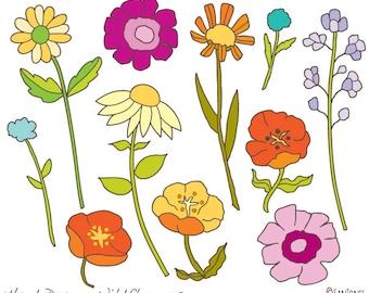 Flora clipart -Hand Drawn Clip Art - Flowers Clip Art - Wildflowers illustration