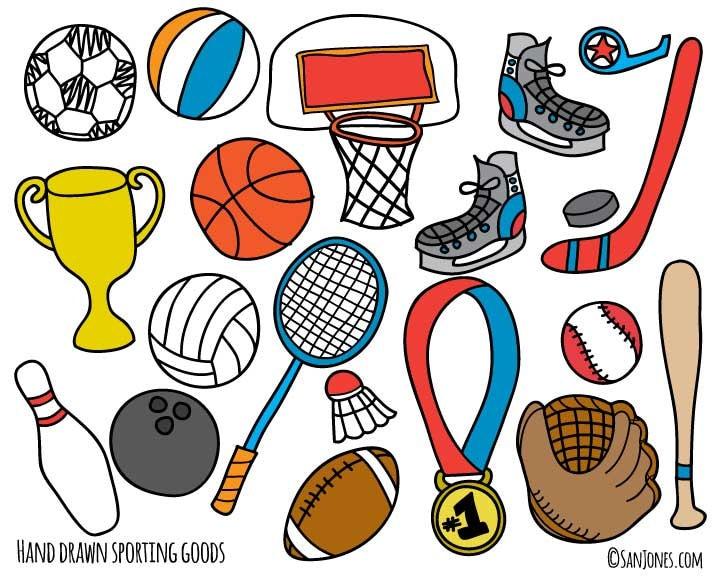 Sports Clip Art Hand Drawn Clip Art Sporting Goods Clip