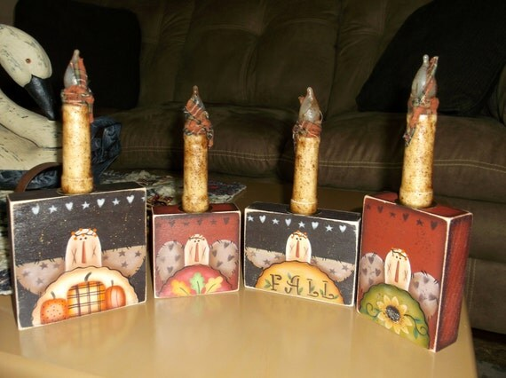 Fall candle holders, set of 4,ooak