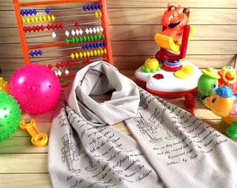 Hans Christian Andersen Toddler Scarf Quote Kids Scarf -The Brave Tin Soldier- Literary Scarf Child size scarf with text Children Scarf Cowl