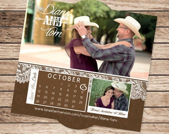 Rustic Cowboy Country Photo Save the Date Magnet