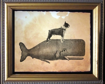 Boston Terrier Riding Whale - Vintage Collage Art Print on Tea Stained Paper - Vintage Art Print - Vintage Paper