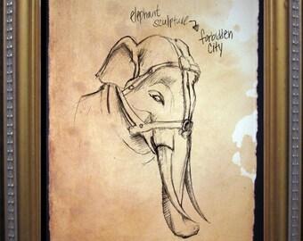Forbidden City Elephant Sculpture Sketch - Beijing, China - Print of Original Travel Sketch on Tea Stained Rives BFK Paper
