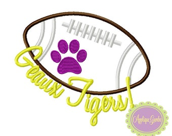 Geaux Tigers Paw Football Machine Embroidery Applique Design