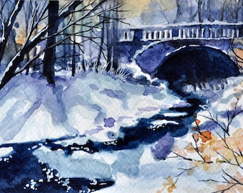 ORIGINAL Watercolor Painting, Winter Park Illustration, Small Format Art, Miniature Painting, Winter Decor 4x6 inch