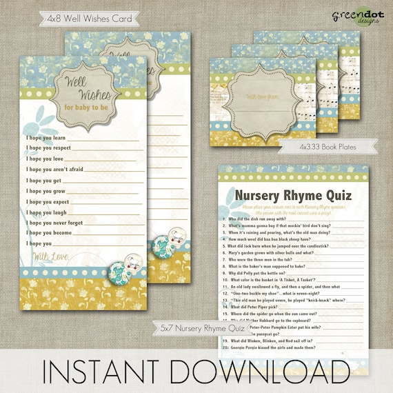 nursery rhyme baby shower games digital download baby shower games