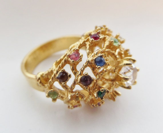 vintage cocktail ring 18k hge open dome gold plated colored