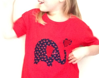 Girls Red T Shirt with Elephant & Heart appliqué