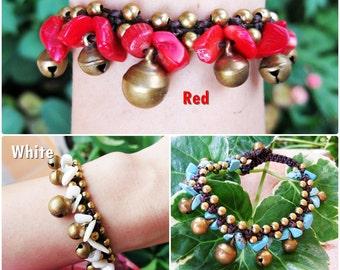 Beautiful Stones Bracelet with Brass Bells, Adjustable Size, Wax String Bracelet Handmade Jewelry. JB1039
