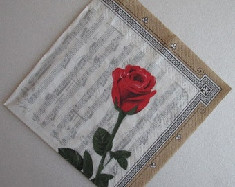 Red rose, music notes, Paper napkin for decoupage