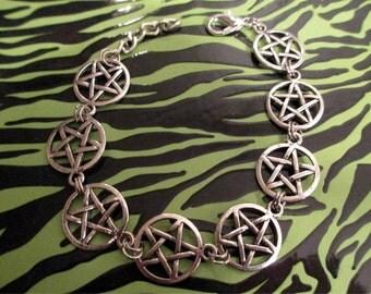 SALE Pentagram / Pentacle Rocker/Goth/ Biker /Wiccan Bracelet