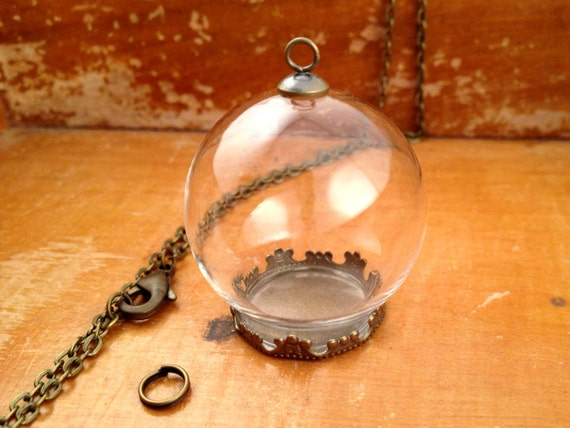 1 small clear glass globe necklace kit bottle pendant diy like this item aloadofball Image collections