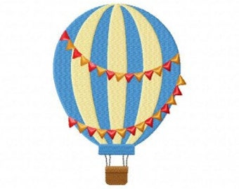 Multicolor Hot Air Balloon Machine Embroidery Design